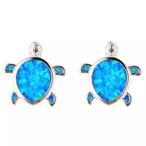 Stainless steel Sea turtle blue opal stud earrings